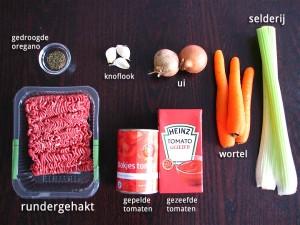Ingrediënten voor Bolognesesaus