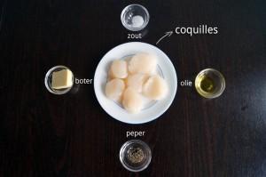 Ingrediënten voor Coquilles Gebakken in Boter