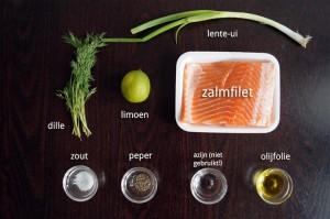 Ingrediënten Zalmtartaar met Dille en Lente-Ui