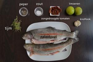 Ingrediënten voor Zalmforel met Zongedroogde Tomaten