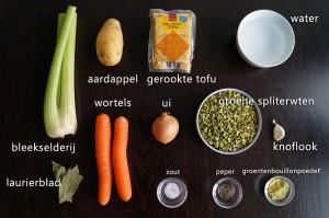 Ingredienten voor Vegetarische Erwtensoep met Gerookte Tofu Recept