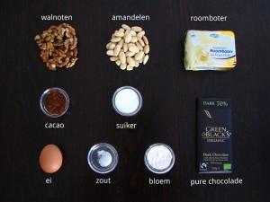 Ingrediënten voor Chocolade Notentaart