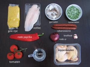 Ingrediënten voor Paëlla met Kip, Vis en Garnalen
