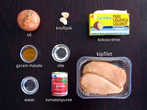 Ingrediënten voor Kip Kerrie