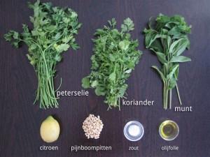 Ingrediënten voor Groene Kruiden Salade