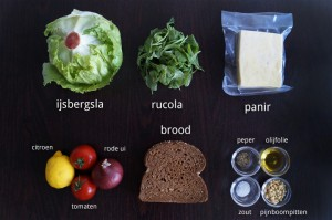 Ingrediënten voor Salade met Gebakken Panir en Citroendressing